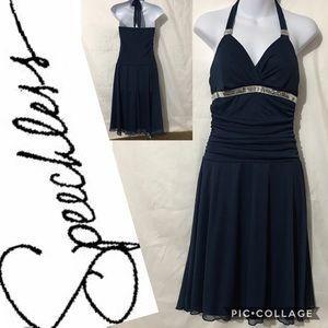 SPEECHLESS BLUE COCKTAIL DRESS
